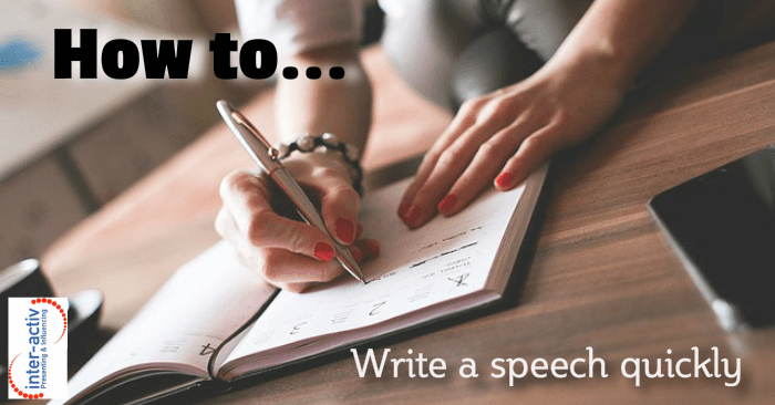 How to write a speech quickly- person writing in a notebiiok