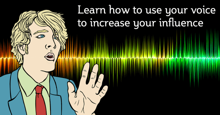 Cartoon man with voice graph in background, - Use your voice to Boost your influence