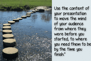 Picture of stepping stones across a river - a metaphor for using a presentation to change your audience's mind