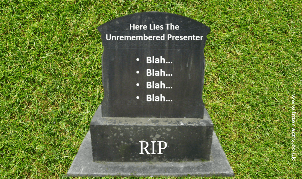 Gravestone with bullet points Powerpoint presentation